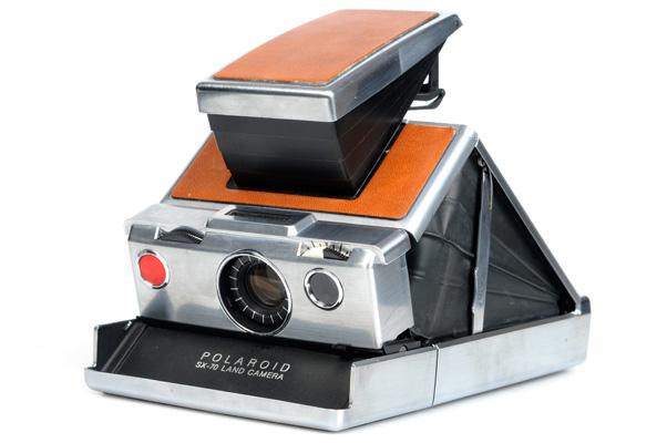 polaroid sx 70 land camera silber belederung braun braune belederung ebay. Black Bedroom Furniture Sets. Home Design Ideas